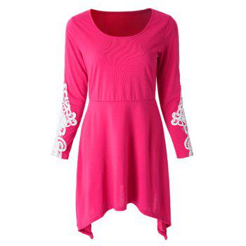 Casual Scoop Neck Lace Splicing Loose Fitting Long Sleeve Dress For Women