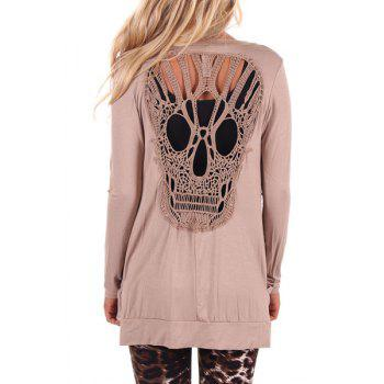 Stylish Long Sleeve Scoop Neck Skull Pattern Hollow Out Women's T-Shirt