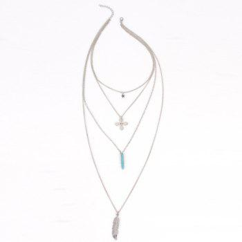 Star Feather Bullet Layered Faux Turquoise Necklace