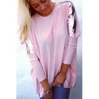 Refreshing Glitter Sequin Spliced Solid Color Blouse For Women - PINK PINK