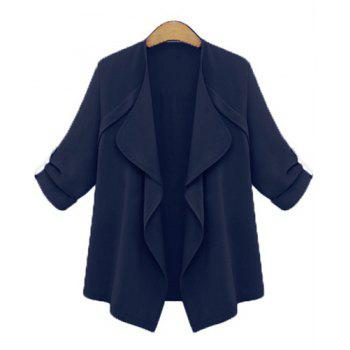 Trendy Long Sleeve Turn-Down Collar Solid Color Women's Coat