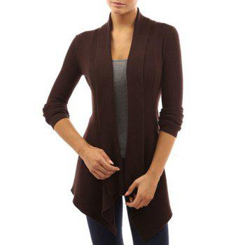 Chic Long Sleeve Turn-Down Neck Pure Color Women's Cardigan