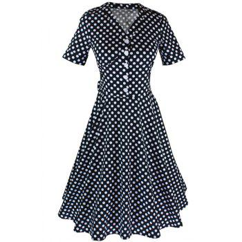 Sweet V-Neck Polka Dot Printed Flare Midi Dress For Women