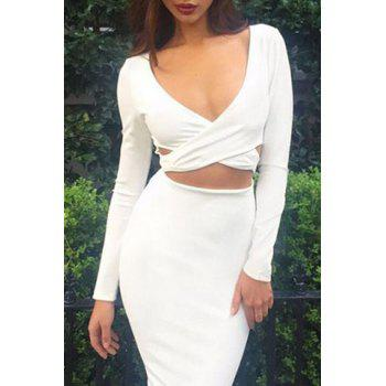 Sexy Plunging Neck Criss-Cross Long Sleeve Dress For Women - WHITE S