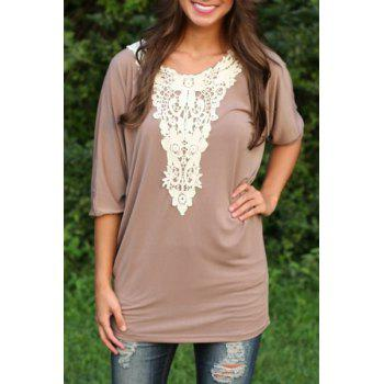 Stylish Scoop Neck 3/4 Sleeve Loose-Fitting Lace Spliced Women's T-Shirt