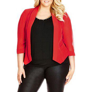 Stylish Shawl Neck Solid Color Plus Size 3/4 Sleeve Women's Blazer