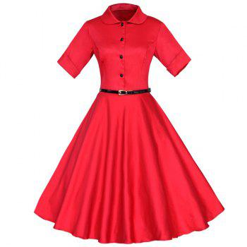 Vintage Buttoned Turn-Down Collar Short Sleeve Ball Dress For Women