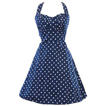 Vintage Polka Dot Print Halter Sleeveless Dress For Women