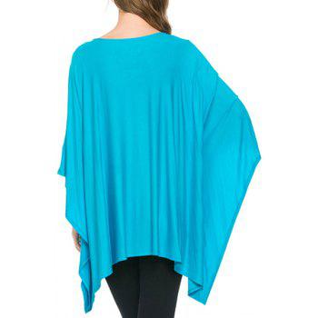 Simple Style Solid Color 3/4 Batwing Sleeve Pleated Blouse For Women - AZURE L