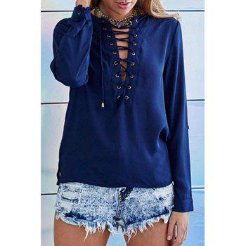 Stylish Long Sleeve Round Neck Solid Color Lace-Up Women's T-Shirt