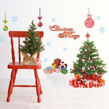 Simple Chic Home Decoration PVC Father Christmas Pattern Decorative Wall Stickers - COLORMIX