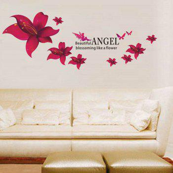 Sweet Colored Floral Pattern Home Decoration PVC Decorative Wall Stickers - RED