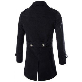 Special Top Fly Multi-Button Epaulet Design Woolen Blend Turn-down Collar Long Sleeves Men's Peacoat - BLACK L