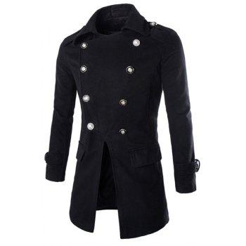 Special Top Fly Multi-Button Epaulet Design Woolen Blend Turn-down Collar Long Sleeves Men's Peacoat