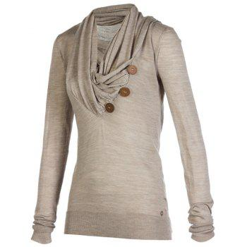 Stylish Cowl Neck Long Sleeve Draped Button Design Women's Sweatshirt