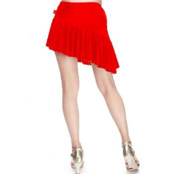 Women's Trendy Solid Color Asymmetrical Flounce Dancewear - RED RED