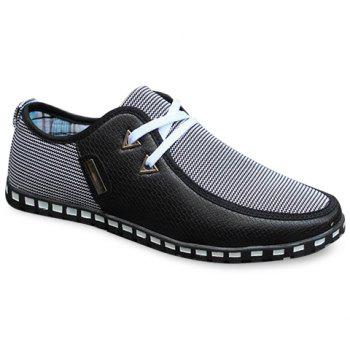 Stylish Color Block and Triangle Design Casual Shoes For Men - BLACK BLACK