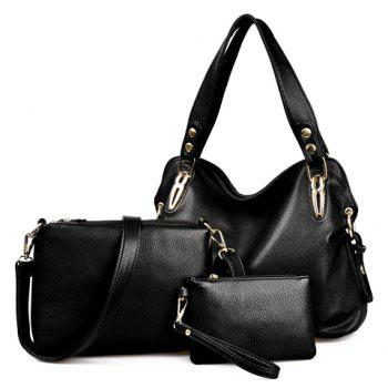 Simple Solid Color and Rivets Design Shoulder Bag For Women