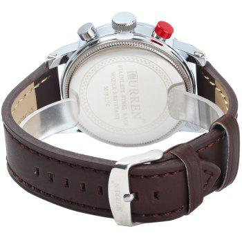 Curren 8170 Decorative Sub-dials Quartz Watch with Stereo Scale Leather Band for Men - RED
