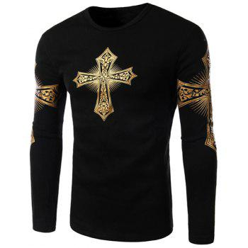 Buy Modern Style Round Neck Color Block Special Cross Print Slimming Long Sleeves Men's Flocky T-Shirt BLACK