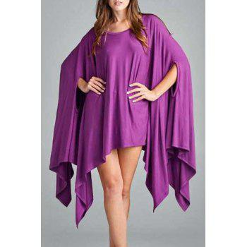 Simple Solid Color 1/2 Batwing Sleeve Asymmetric Loose Top For Women - PURPLE L