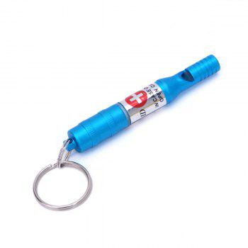 Aluminum Alloy Durable Outdoor Survival Whistle with Key Chain for Help Seeking - BLUE BLUE
