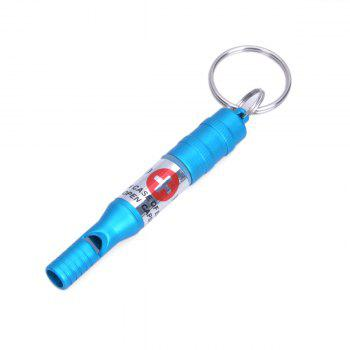 Aluminum Alloy Durable Outdoor Survival Whistle with Key Chain for Help Seeking -  BLUE