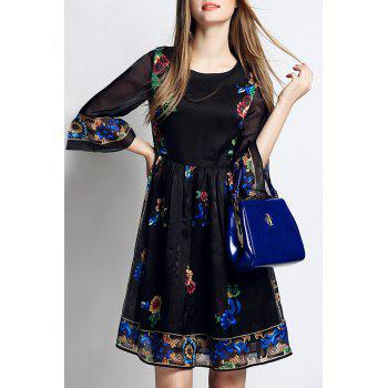 Stylish Scoop Neck 3/4 Sleeve Flowers Print Women's Dress