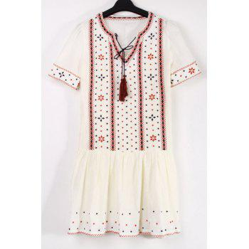 Stylish V Neck Short Sleeve Ethnic Embroidery Women's Dress