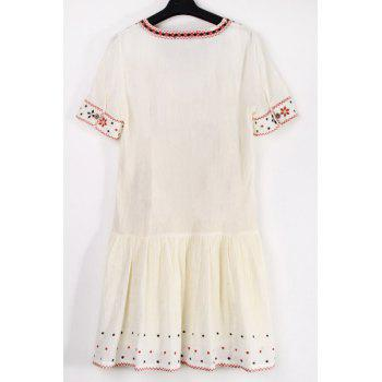 Stylish V Neck Short Sleeve Ethnic Embroidery Women's Dress - L L