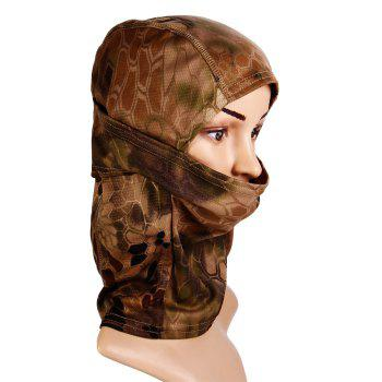 Multi-purpose Wrapped Head Cap Mask with Irregular Grid Pattern for Outdoor Camping and Cycling -  BROWN