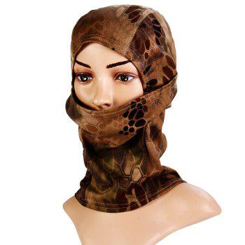 Multi-purpose Wrapped Head Cap Mask with Irregular Grid Pattern for Outdoor Camping and Cycling - BROWN BROWN