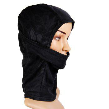 Multi-purpose Wrapped Head Cap Mask with Irregular Grid Pattern for Outdoor Camping and Cycling - BLACK