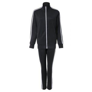 Active Stand Collar Long Sleeve Zippered Coat + Spliced Elastic Waist Pants Women's Twinset