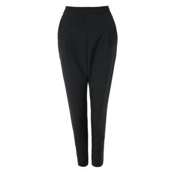 Casual High Waist Pure Color Loose-Fitting Zippered Ninth Women's Harem Pants