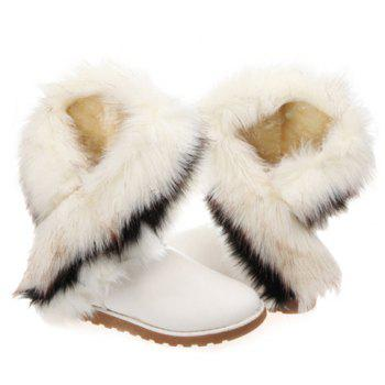 Trendy Color Block and Faux Fur Design Snow Boots For Women - WHITE 39