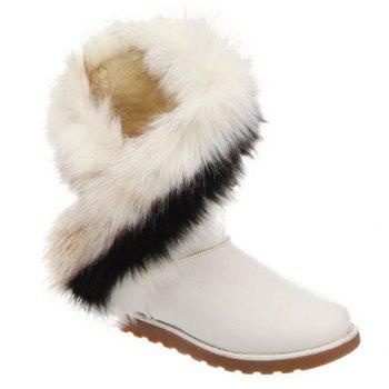 Trendy Color Block and Faux Fur Design Snow Boots For Women