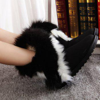 Trendy Color Block and Faux Fur Design Snow Boots For Women - BLACK 41