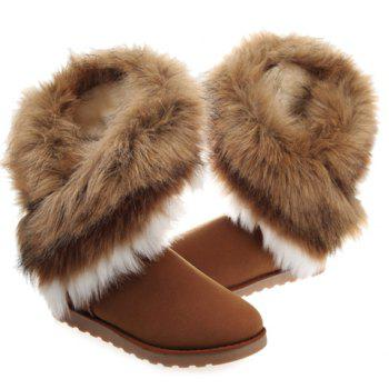 Trendy Color Block and Faux Fur Design Snow Boots For Women - BROWN 38