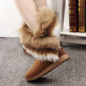 Trendy Color Block and Faux Fur Design Snow Boots For Women - BROWN 40