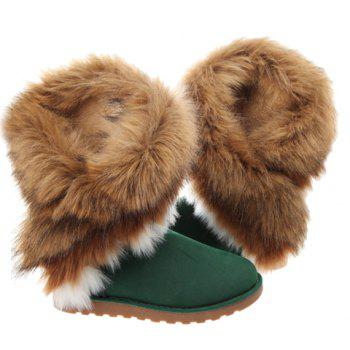 Trendy Color Block and Faux Fur Design Snow Boots For Women - GREEN 39