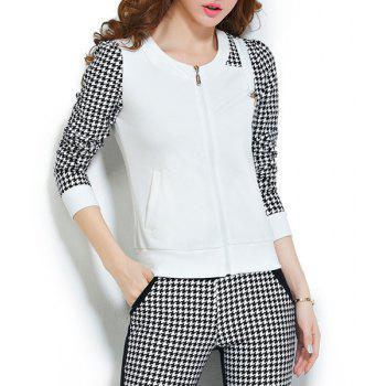 Stylish Women's Scoop Neck Long Sleeve Houndstooth Sweatshirt and Pants Suit - WHITE L