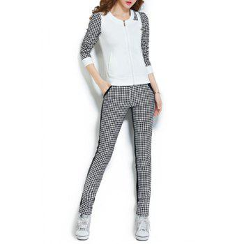 Stylish Women's Scoop Neck Long Sleeve Houndstooth Sweatshirt and Pants Suit