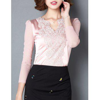 Noble Long Sleeve Lace Spliced Solid Color See-Through Women's Blouse