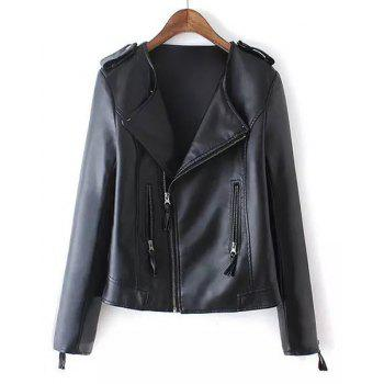 Women's Trendy Long Sleeve Turn-Down Collar Zipper Design Faux Leather Jacket