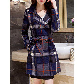 Fashionable Long Sleeve Turn-Down Collar Self Tie Belt Plaid Women's Coat
