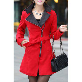 Stylish Turn-Down Collar Color Block Zippered Long Sleeve Women's Coat