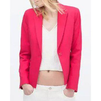 Stylish Lapel Neck Solid Color One-Button Long Sleeve Women's Blazer