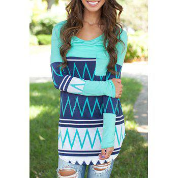Fashionable Scoop Neck Zig Zag Long Sleeve T-Shirt For Women