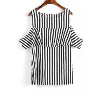 Sweet Style Round Neck Short Sleeve Striped Cut Out Women's T-Shirt